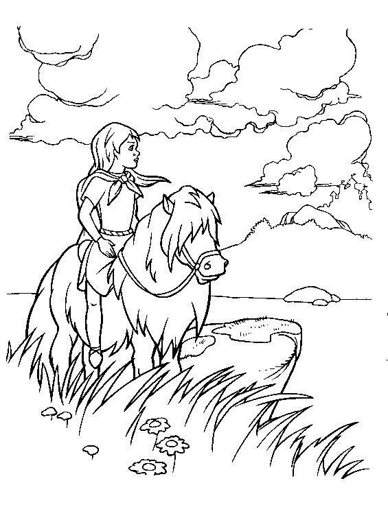 Coloring Page Horse Landscape