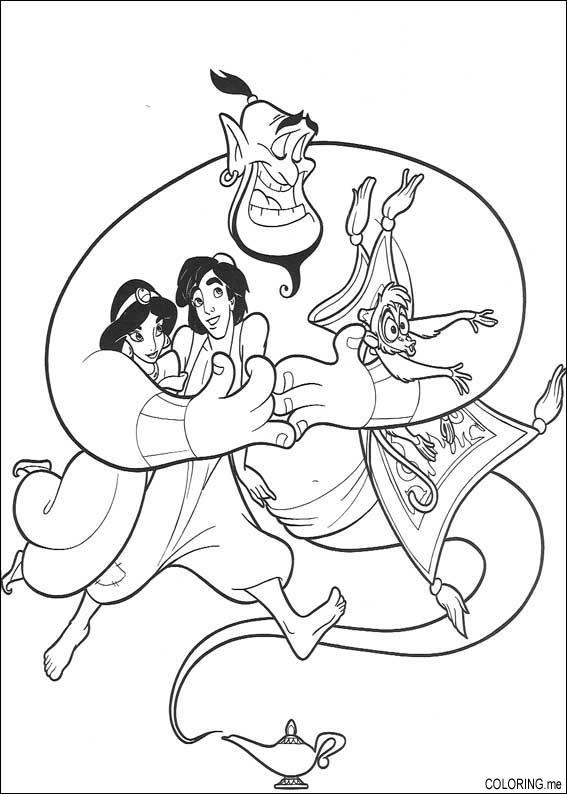 Coloring Page Genius Aladdin Jasmine And Abu Coloring Me