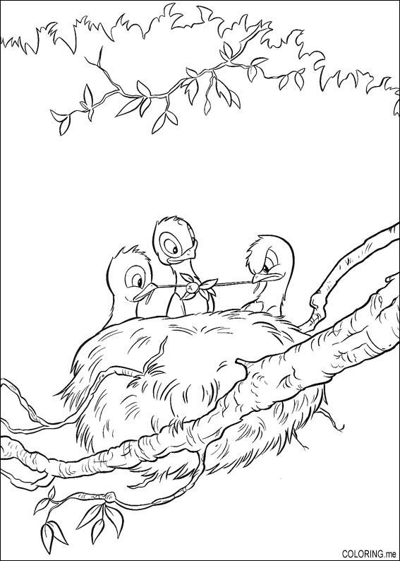 Coloring Page Bambi Bird Nests