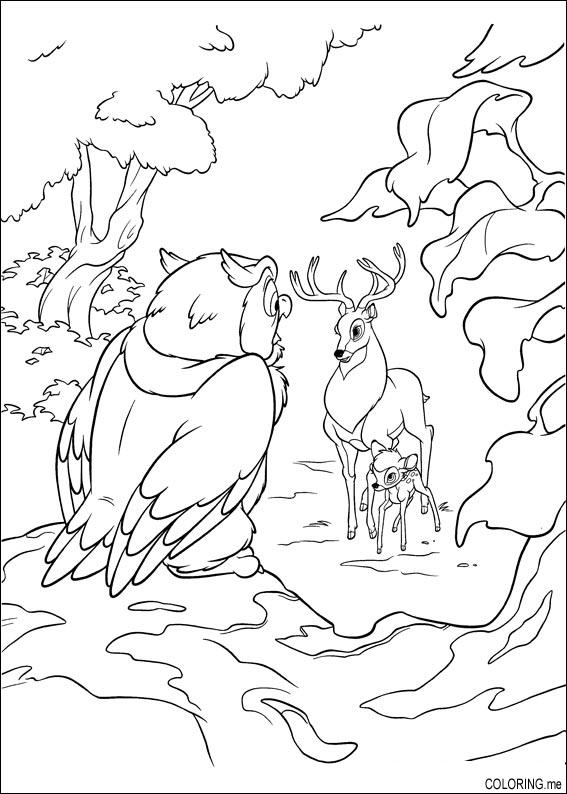 Coloring Page Bambi His Father And The Owl