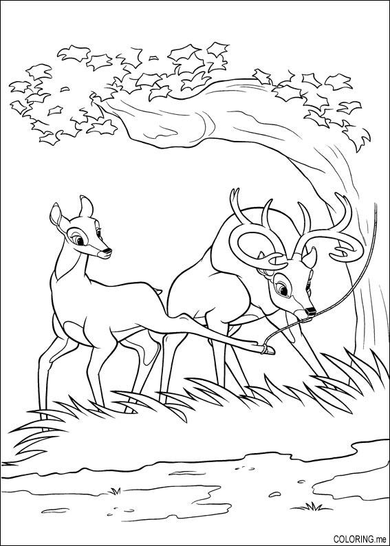 Coloring page  Bambi  father recue mother  Coloringme