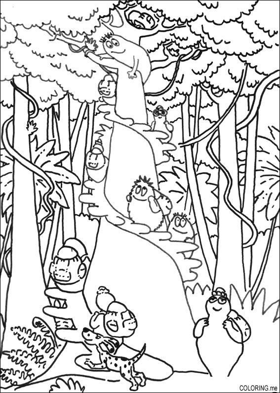 Coloring page Barbapapa family in jungle Coloringme