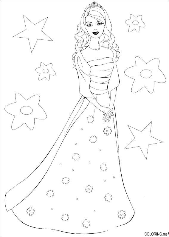 Coloring page barbie dress for Barbie dress up coloring pages
