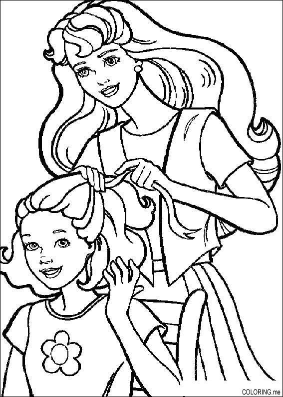 Coloring Page Barbie Hairdressing