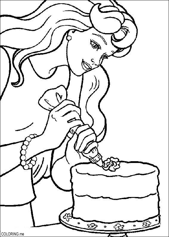 Coloring page Barbie cooking Coloringme