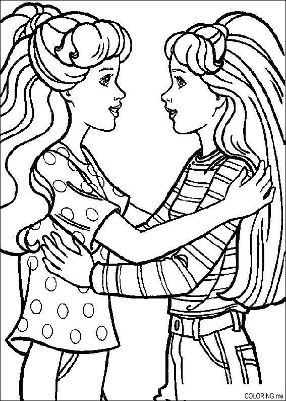 coloring page barbie friend hello