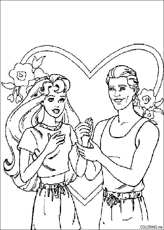 Coloring page barbie and ken love for Barbie and ken coloring pages