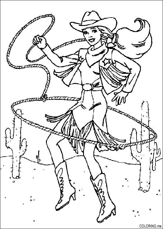 Coloring page Barbie rodeo rope Coloringme