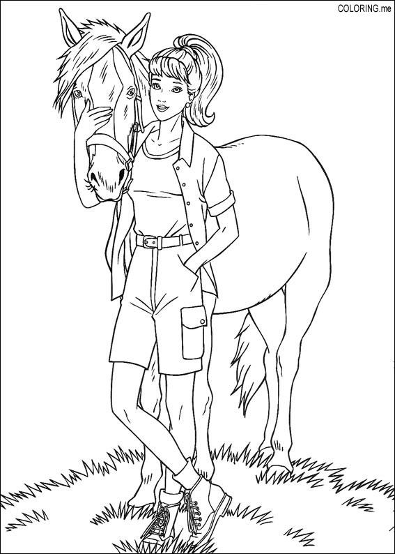 Barbie Coloring Pages With Horses : Coloring page barbie and horse me