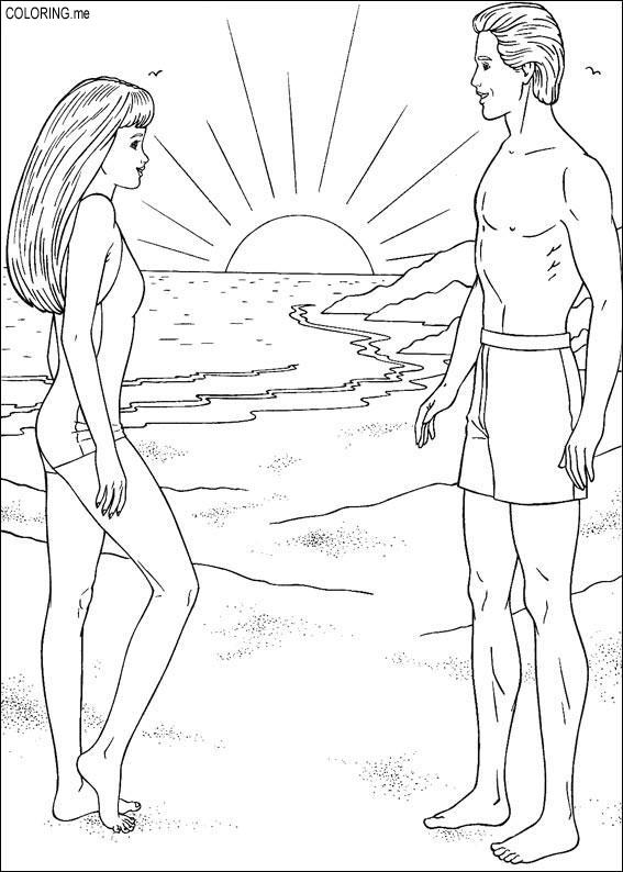 Coloring page barbie and ken on the beach for Barbie and ken coloring pages