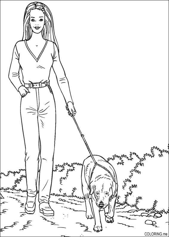 Coloring Page Barbie Walk The Dog