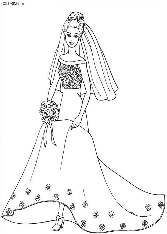 Coloring Page Barbie Wedding Dress Coloringme