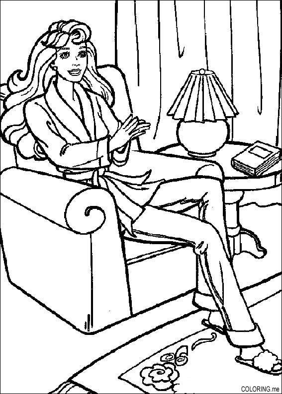 House Room Coloring Page: Coloring Page : Barbie In The Living Room