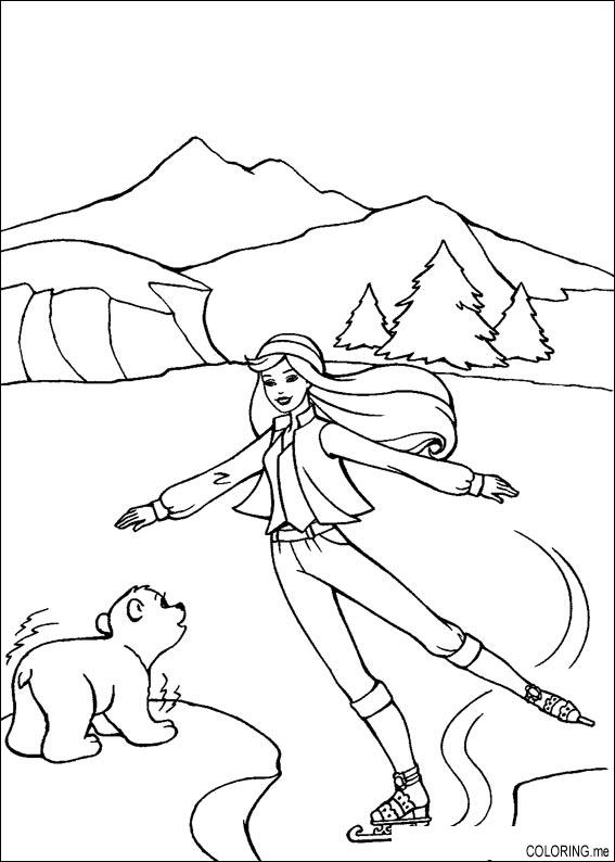coloring page barbie ice skating coloringme
