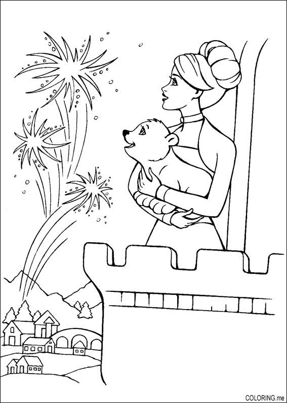 Coloring page Barbie castle fireworks Coloringme