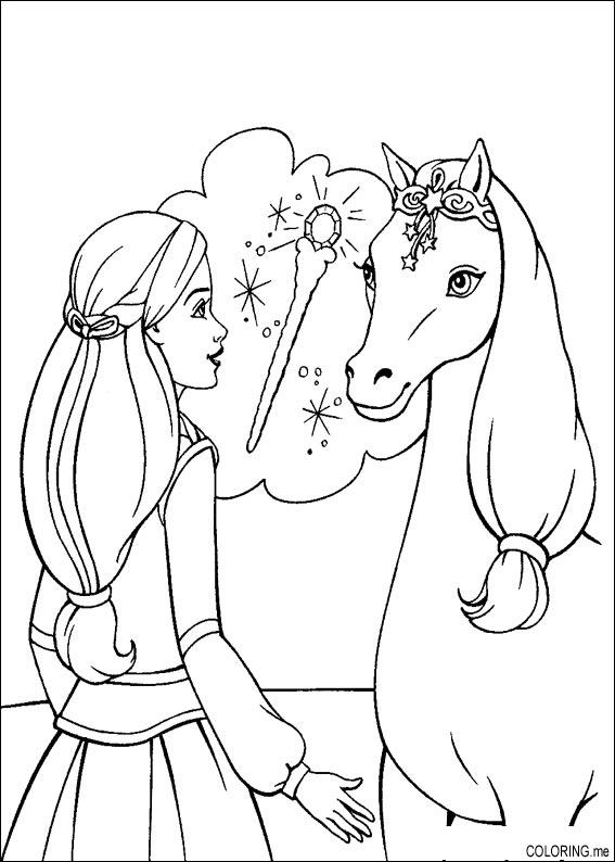 Barbie Coloring Pages With Horses : Coloring page barbie magic pegasus horse me
