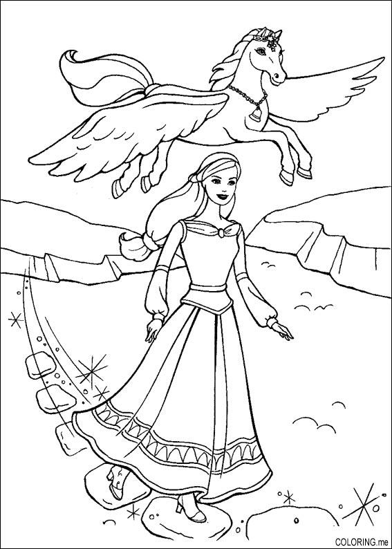Coloring page Barbie magic pegasus and horse Coloringme