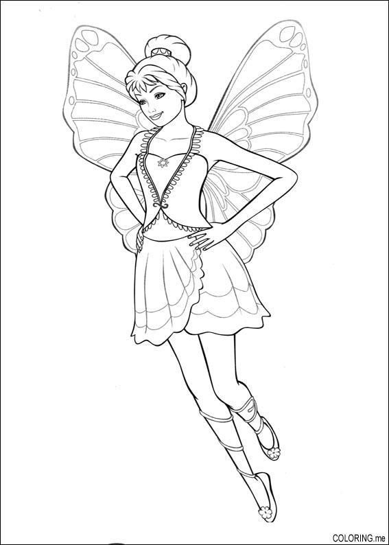 butterfly barbie princess coloring page. dibujos para colorear ...