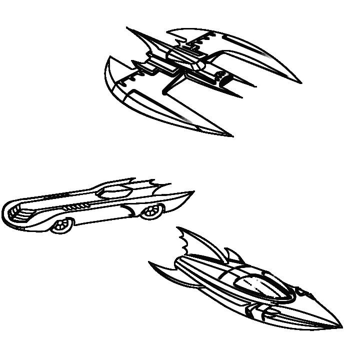 Coloring page : Batcar, batboat and batplane - Coloring.me