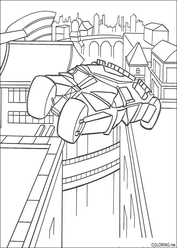 Coloring Page Batman Car Fly In Gotham City