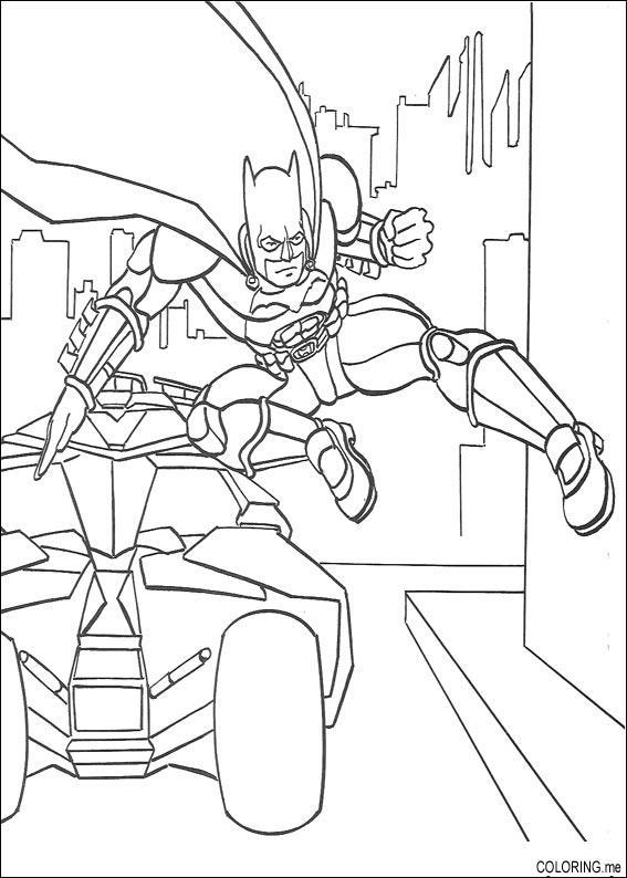 Coloring page Batman car jump Coloringme
