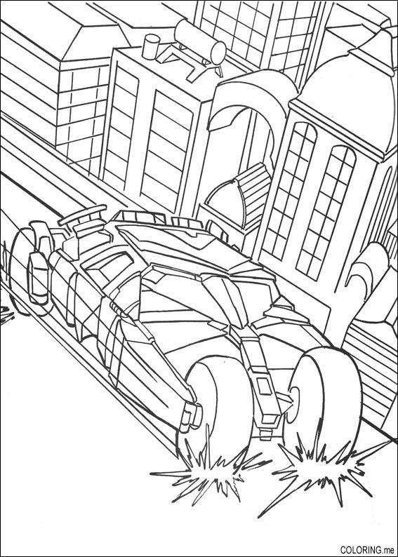Coloring Page Batman Car Slow