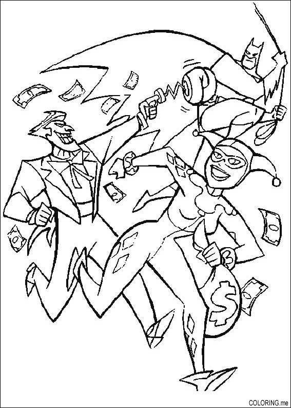 Coloring page : Batman, Joker and money - Coloring.me