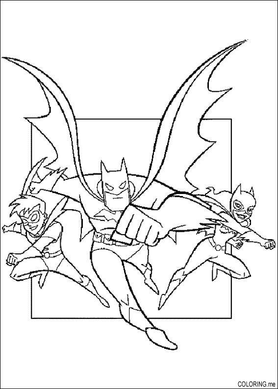 Coloring page batman robin and catwoman for Batman and robin coloring page