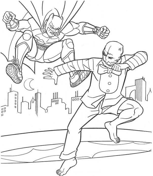 Coloring page Batman fight Coloringme