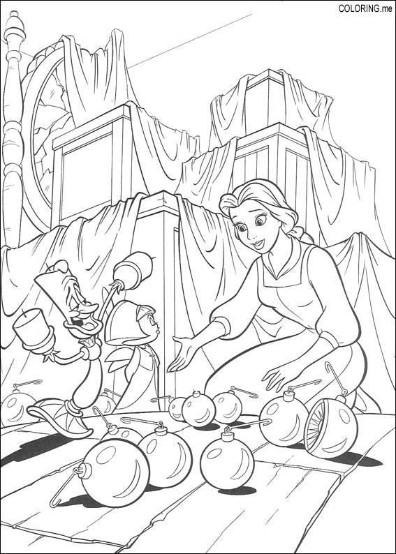Coloring page : Beauty and the beast : Christmas - Coloring.me