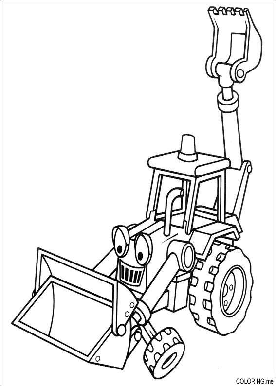 Coloring page bob the builder backhoe excavator for Bob the builder coloring pages printable