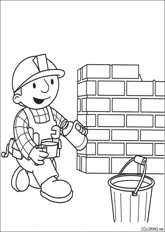 Coloring Page Bob The Builder Making Wall