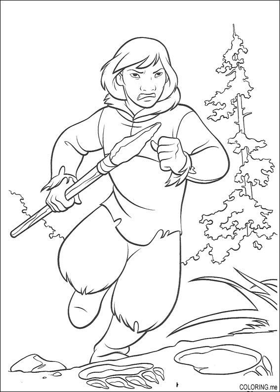 Coloring page : Brother bear human running - Coloring.me