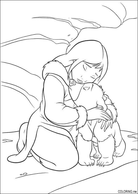 Coloring page : Brother bear hug with human girl - Coloring.me