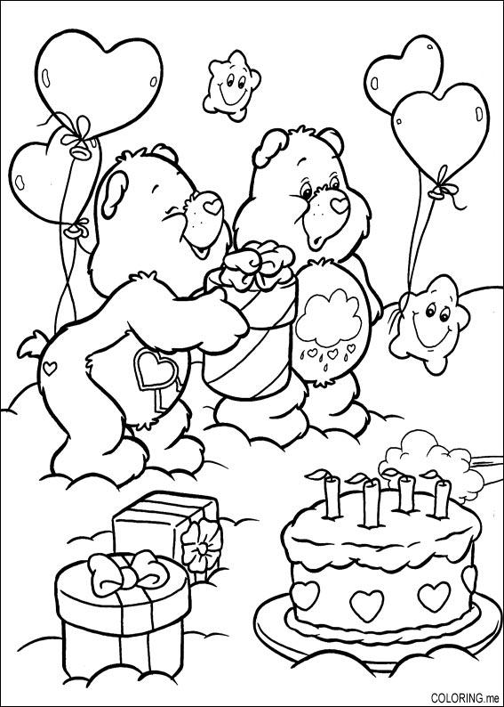 Coloring page Care bears birthday