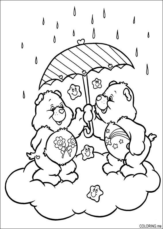 Coloring page care bears under the rain for Care bears coloring pages