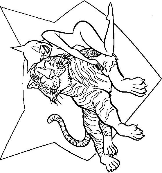 Coloring page : Catwoman and tiger - Coloring.me