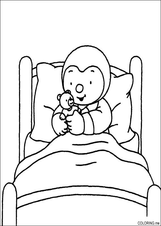 sleeping in bed coloring page printable pages design