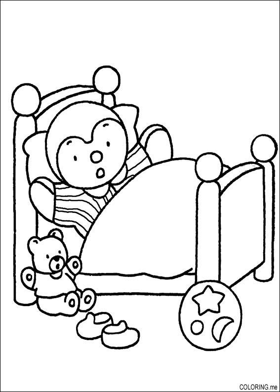 bed coloring pages - coloring page charley and mimmo and bear in bed