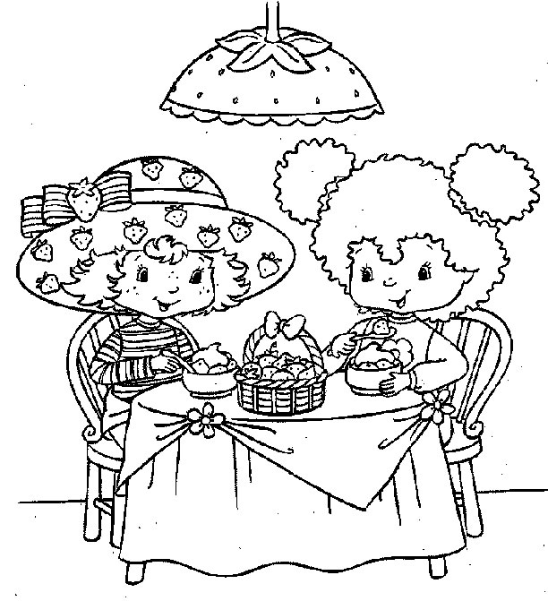 Coloring page strawberry shortcake eating with friend - Coloriages charlotte aux fraises ...