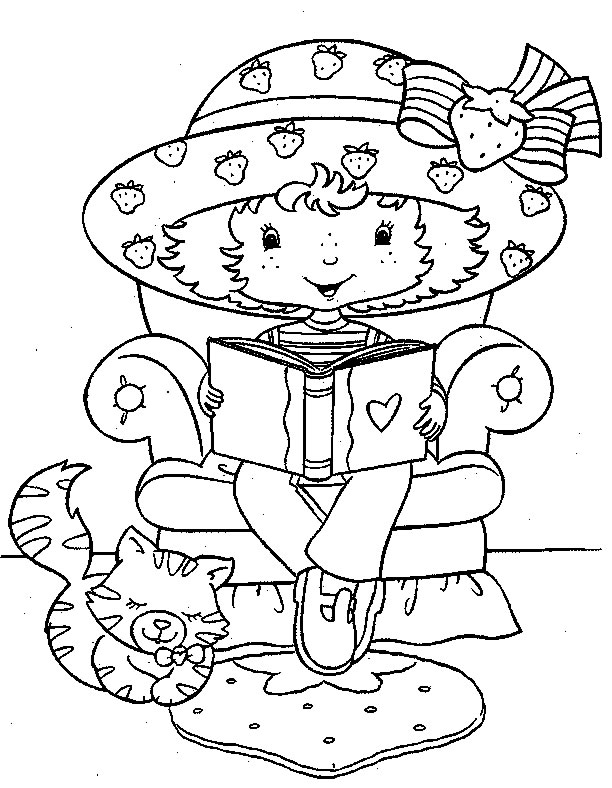Coloring page : Strawberry Shortcake reading love book - Coloring.me