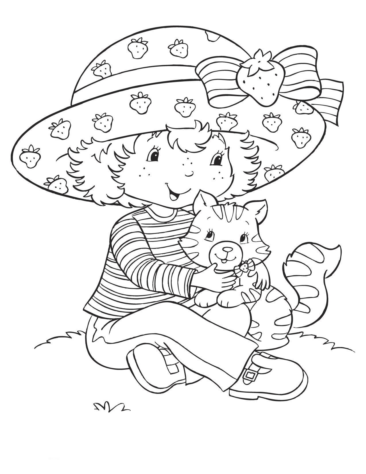 Coloring page Strawberry Shortcake and cat Coloringme
