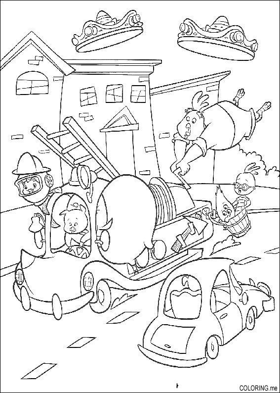 coloring page chicken little firefighter coloringme