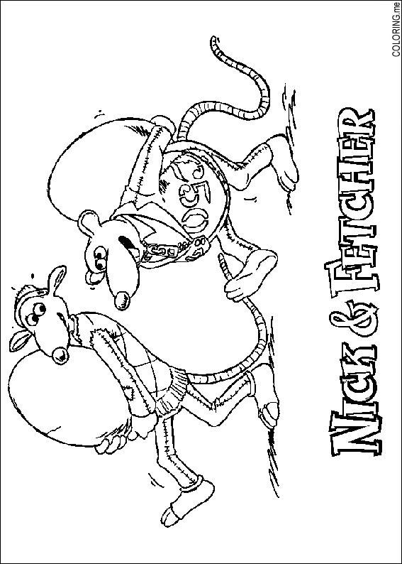 Coloring page chicken run nick and fetcher for Chicken run coloring pages