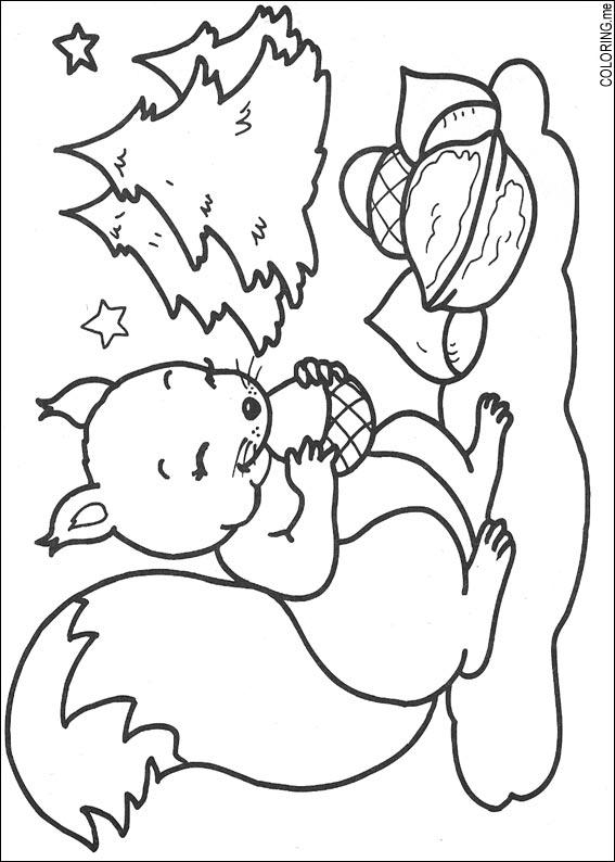 Coloring Page Christmas Squirrel