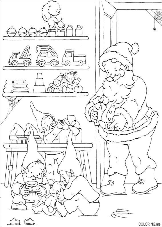 Coloring page : Christmas Santa Claus and elf - Coloring.me