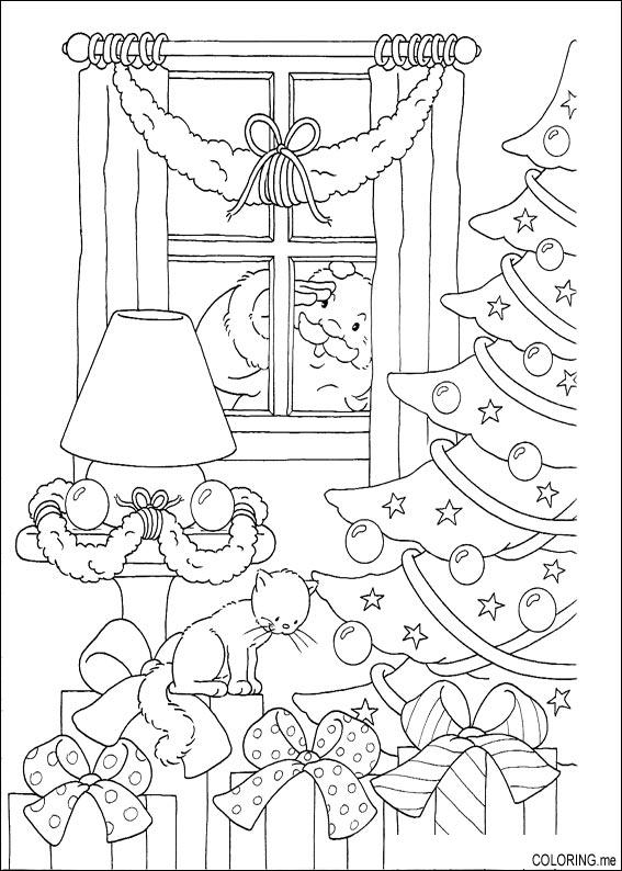 Coloring page christmas santa claus looking behind for Pages for windows