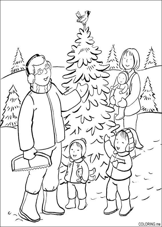 Kleurplaat Cadeau Lieke Coloring Page Christmas Day Choosing Tree Coloring Me