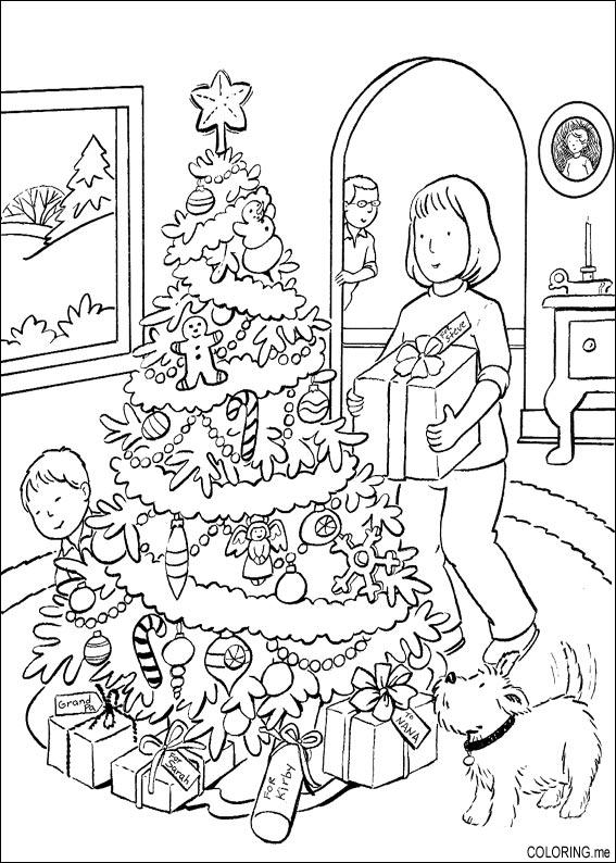 coloring page christmas hidden gift coloringme