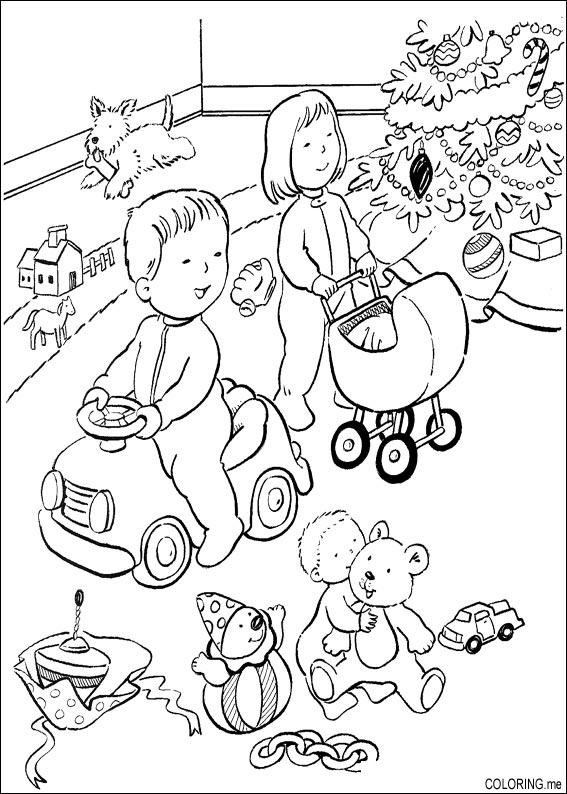 coloring page   christmas children are playing